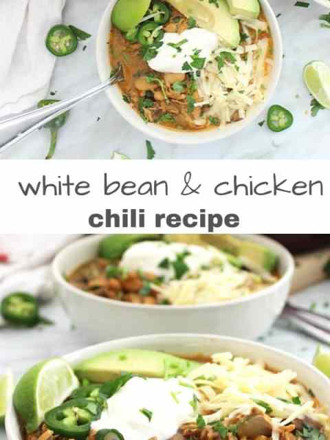 Pinterest graphic. Two shots of the white bean chili with text separator