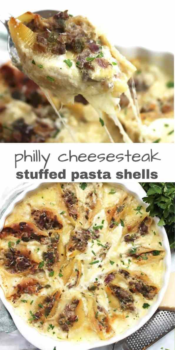 Pinterest graphic. Two photos of philly cheesesteak shells with text separator