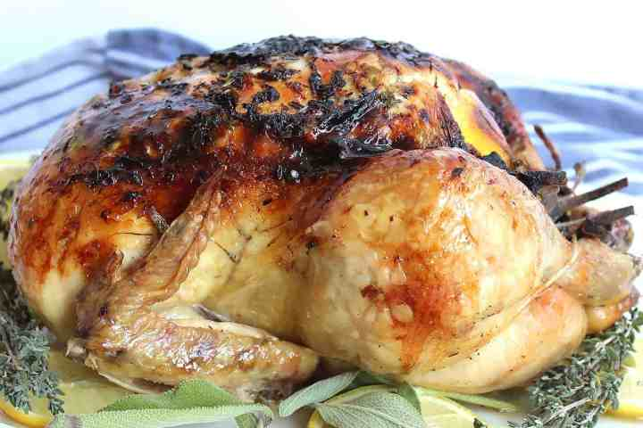 Slow roasted chicken on top of lemon and fresh herbs