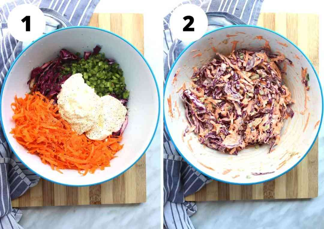 Two shots to show the coleslaw before and after mixing