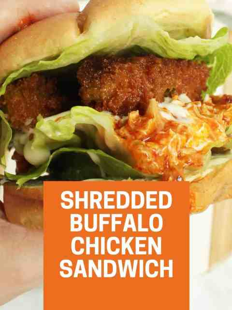 Pinterest graphic. Buffalo chicken sandwich with text