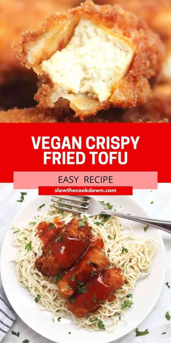 Pinterest graphic. Crispy breaded tofu with text