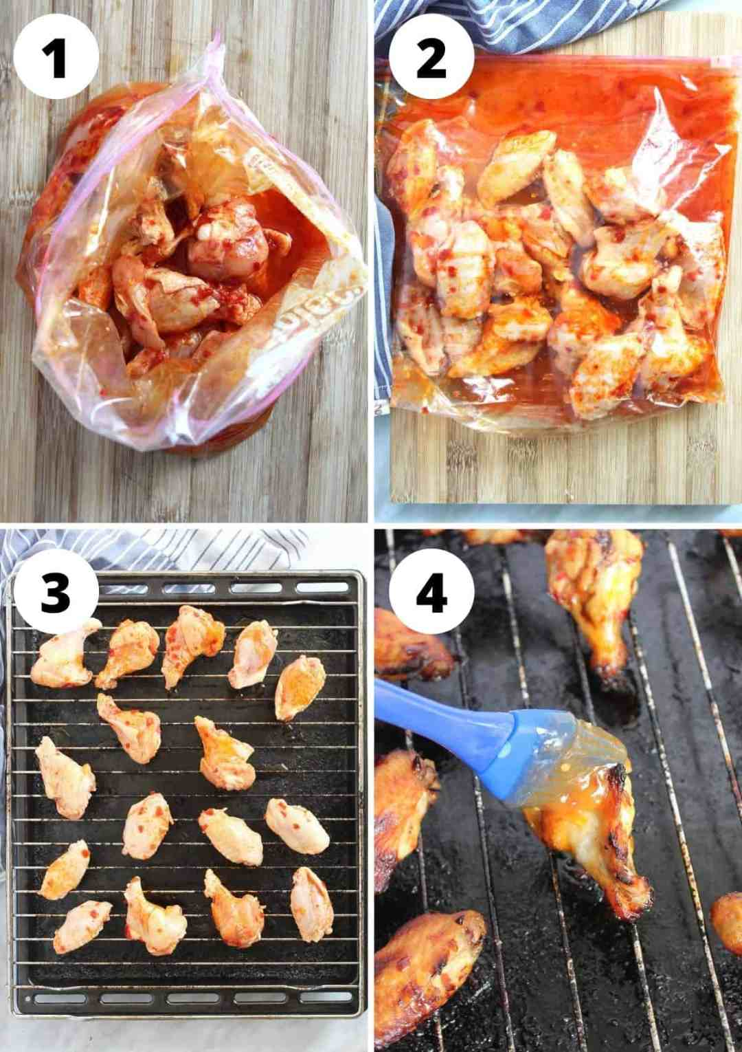 Four photos to show how to marinate and bake the chicken wings