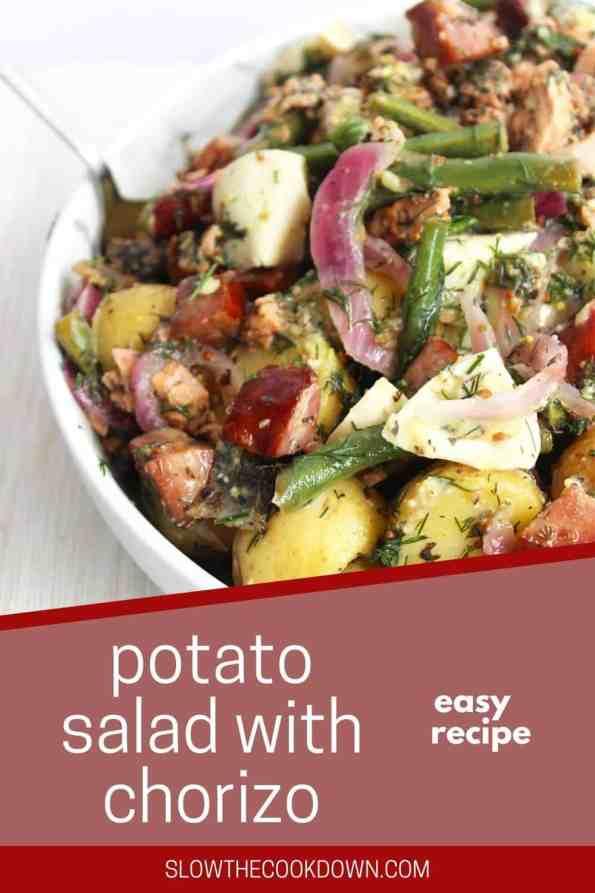 Pinterest graphic. Potato salad with chorizo with text