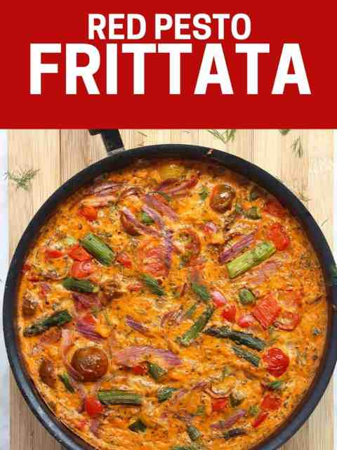 Pinterest Graphic. Red pesto frittata with text
