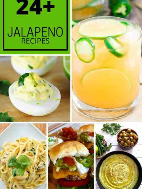 Pinterest graphic. A collage of jalapeno recipes