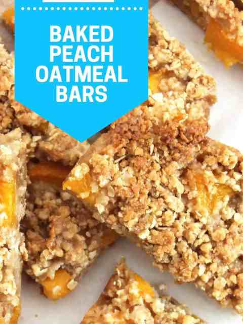 Pinterest graphic. Baked peach oatmeal bars with text.