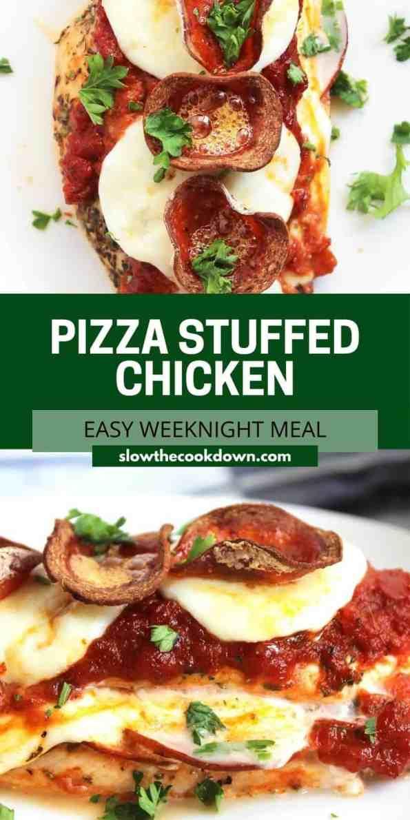 Pinterest graphic. Pizza stuffed chicken