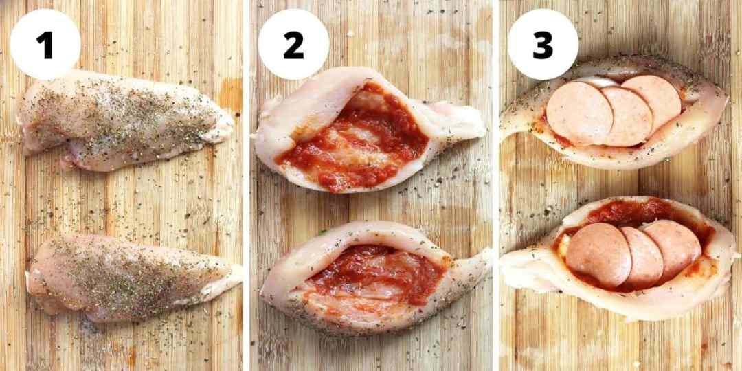 Three step by step photos showing how to season and stuff the chicken