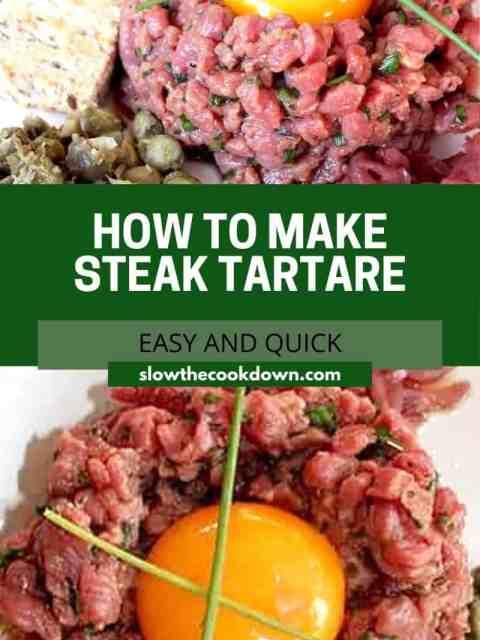 Pinterest graphic. Steak tartare with text