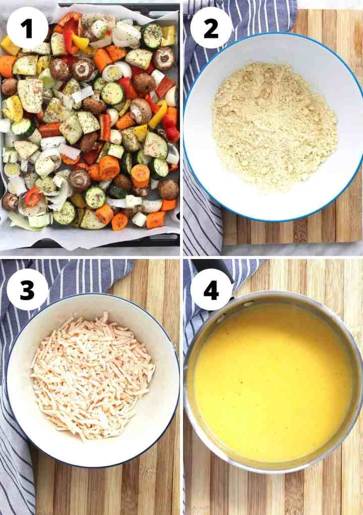 Four shots to show roasting the vegeatbles and making the crumble topping and cheese sauce