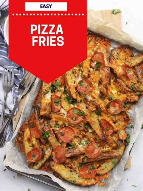 Pinterest graphic. Pizza fries with text.