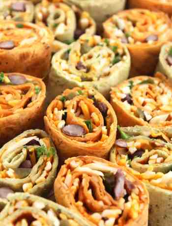 A group of Mexican tortilla pinwheels with cheese and bean filling.