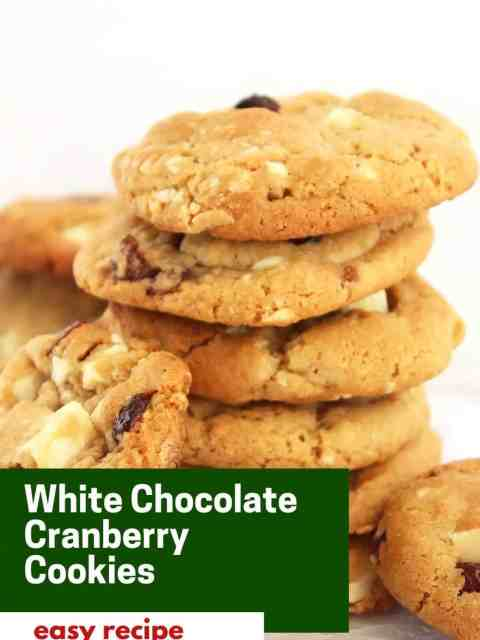 Pinterest graphic. White chocolate cranberry cookies with text.