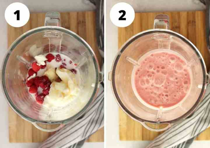 Two step by step shots to show how to make the smoothie in a blender.