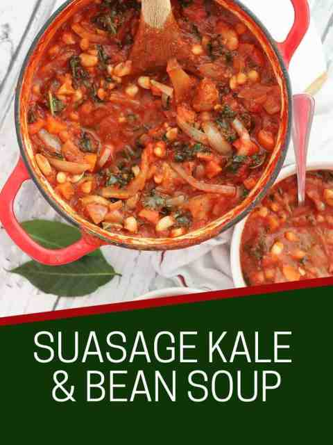 Pinterest graphic. Sausage and kale soup with text.