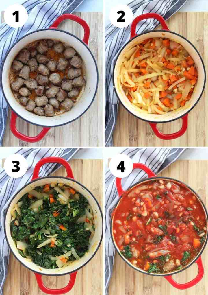Four step by step photos to show how to make the soup.