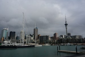 View of the Auckland skyline on a cloudy day