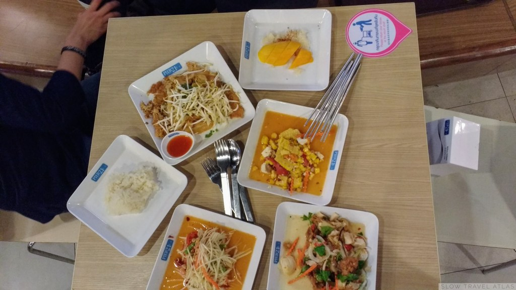 Variety of dishes as a mall food court in Bangkok