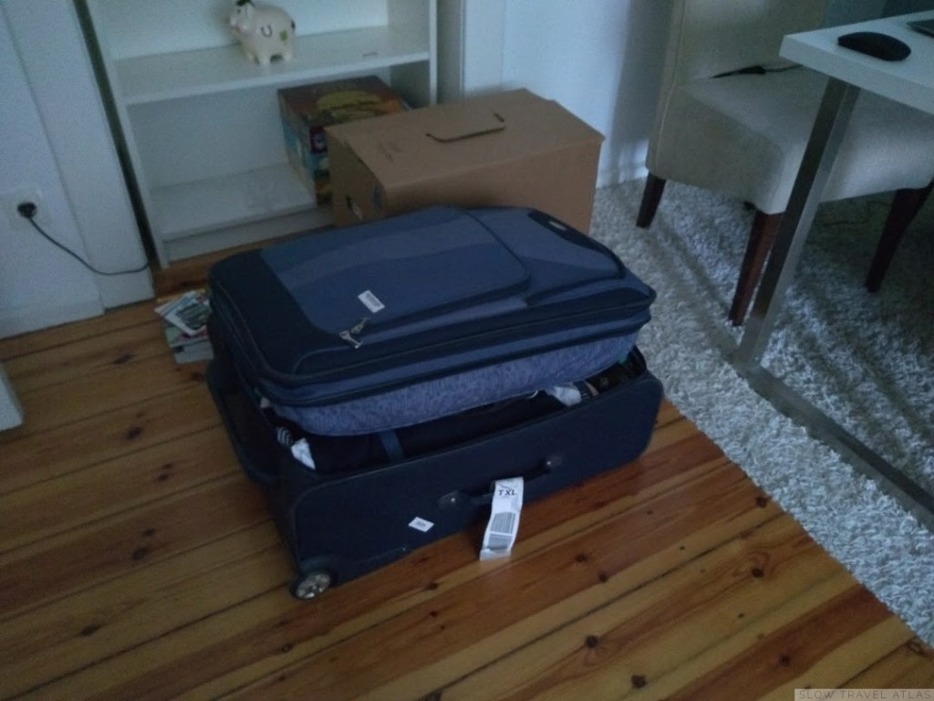 A suitcase packed full