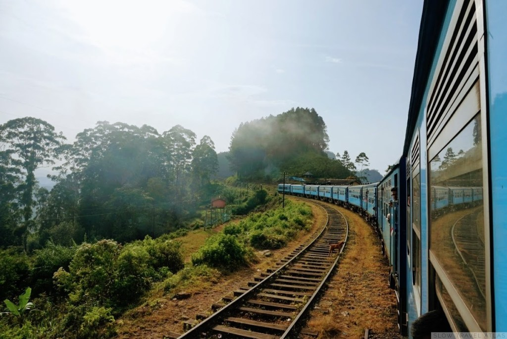 Sri Lanka train along the curving hills