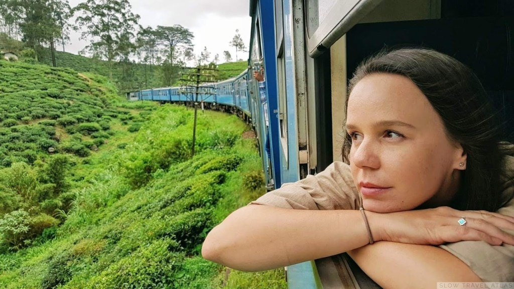 Looking out the window during the Sri Lanka train ride