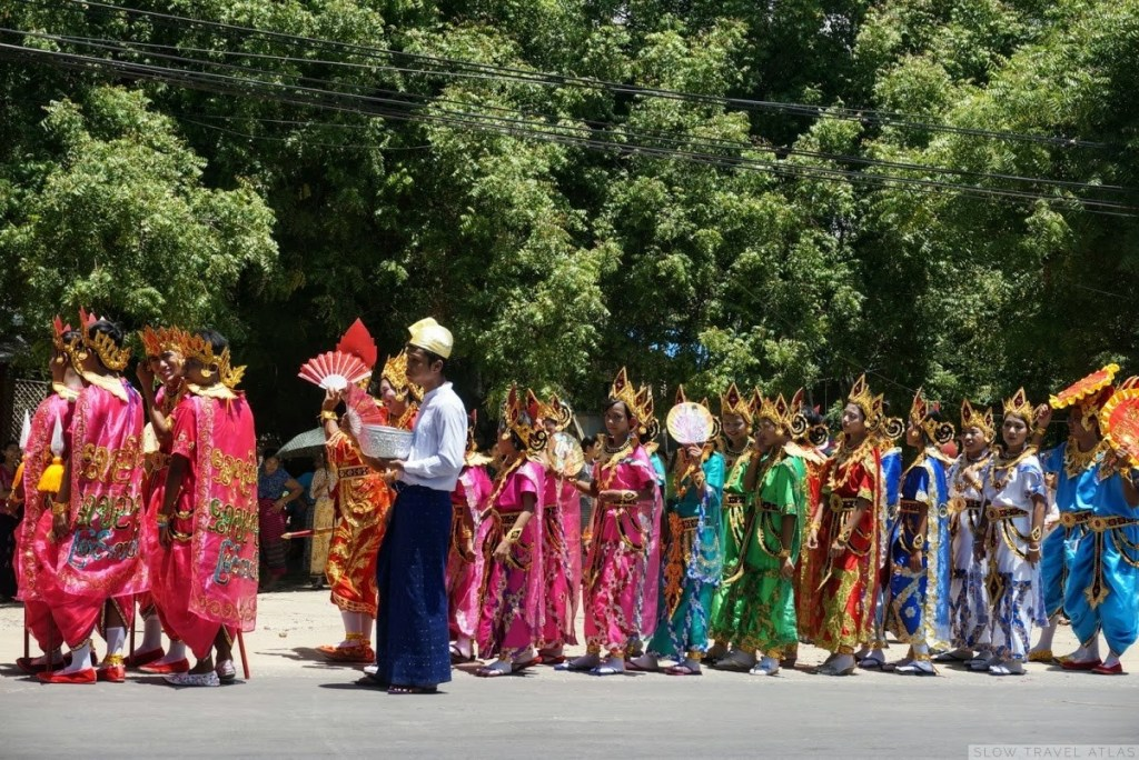 Local kids dressed in colourful outfits to participate in the procession