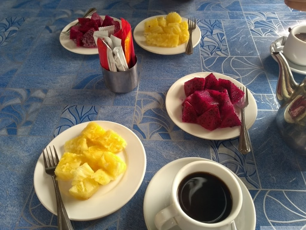 Sliced up pineapple and dragon fruit at Sweet Inn
