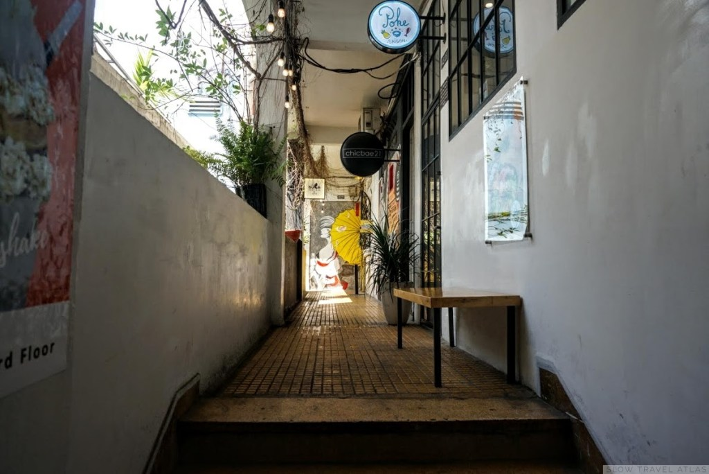 Corridor of the cafe apartment in Ho Chi Minh City