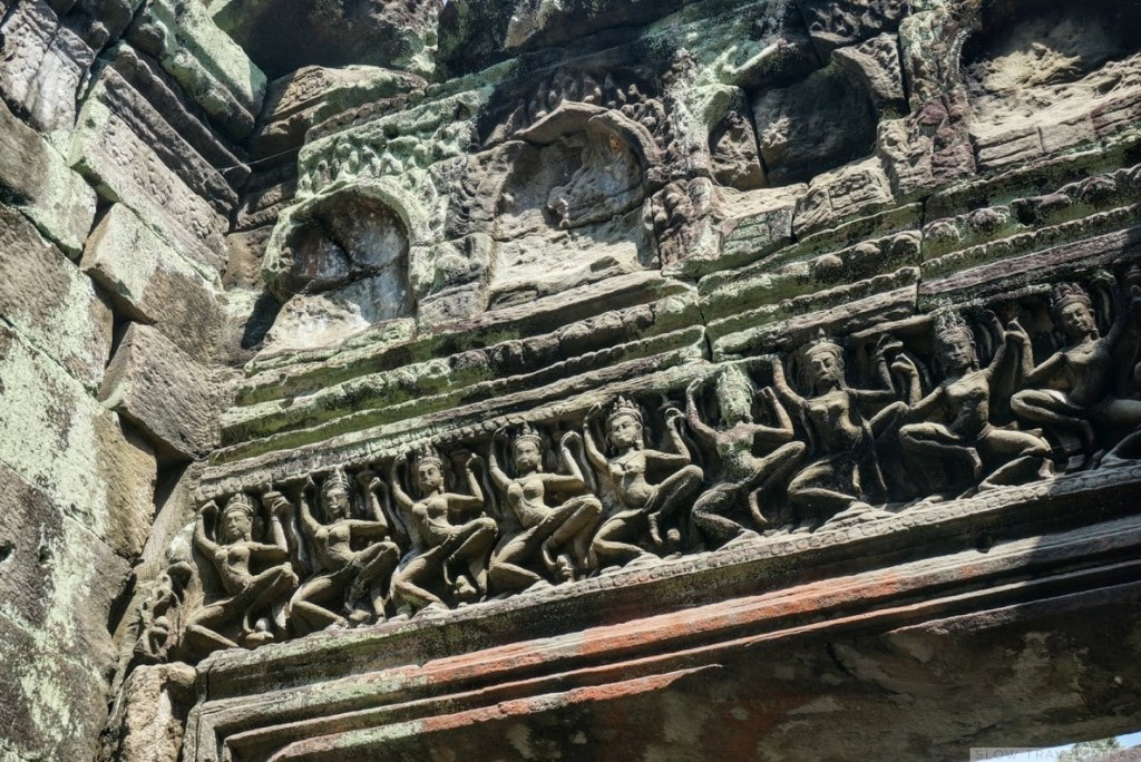 Detailed carvings on the walls at Preah Khan