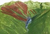 Nános lavíny a schematicky znázornené lavínové dráhy