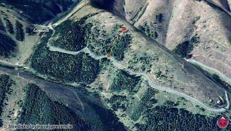 približná dráhy lavíny na východnom svahu Rovienok