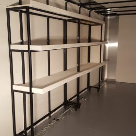 Modular rolling shelves installed-custom designed for business needs and minimal footprint