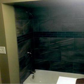 After-Basement bathroom w custom tile work