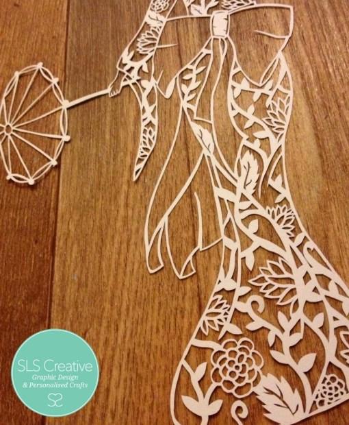 Geisha Girl Paper Cut Template