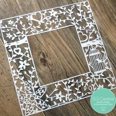 Floral Frame Paper Cut Template SLS Creative