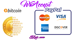 Payments We Accept - Bitcoin Paypal and Credit Card