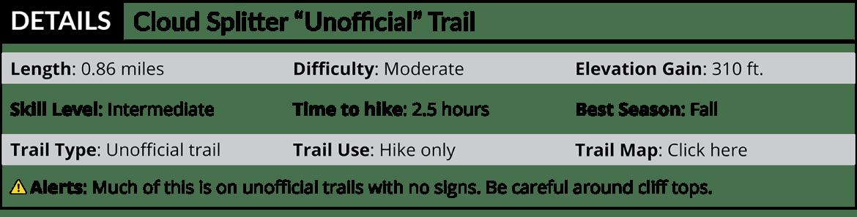 Cloud Splitter Hidden Trail Details