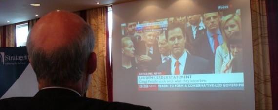 David Ford watching Lib Dem leader Nick Clegg speaking on BBC News election programme