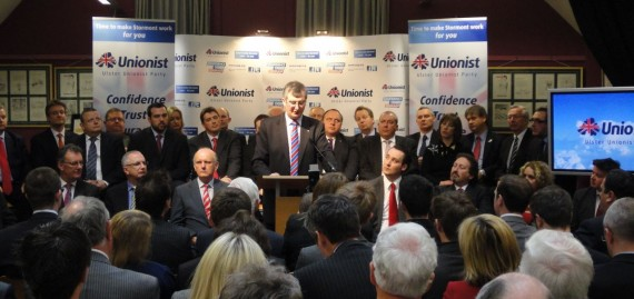 Tom Elliott launching UUP 2011 Assembly election manifesto in Linen Hall Library