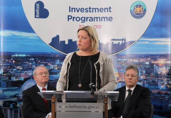 Councillor Deirdre Hargey, chair of Belfast City Council Strategic Policy and Resources Committee at launch of 2012-2015 Draft Investment Programme
