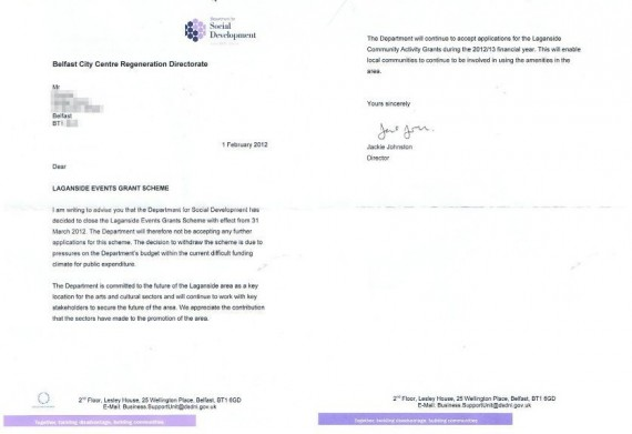 Letter from DSD to organisations cancelling Laganside Events Grant