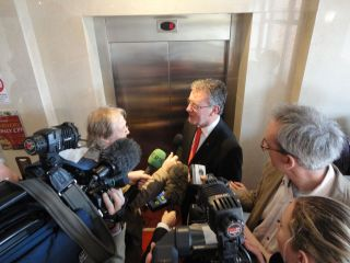 Mike Nesbitt ambushed by press outside a life