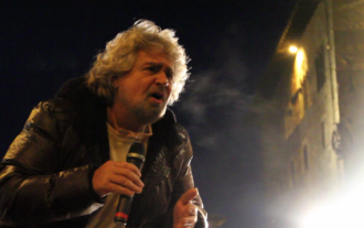 Former TV comedian Beppe Grillo on his election 'Tsunami Tour'. Photo by Roberto Beragnoli.