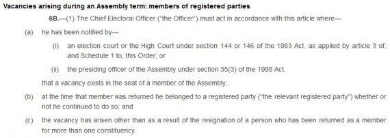 6B section 1 NI Assembly Elections Amendment Order 2009