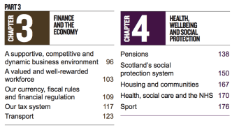 Scotlands Future snippet of table of contents
