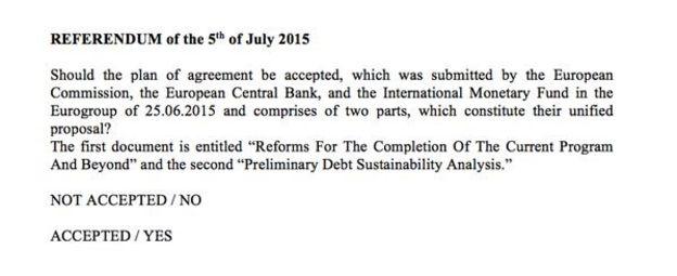 Greek Referendum Question 5 July 2015