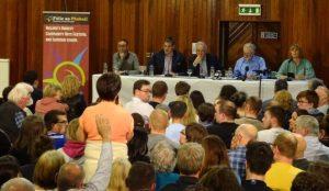 West Belfast Talks Back crowd hand up panel