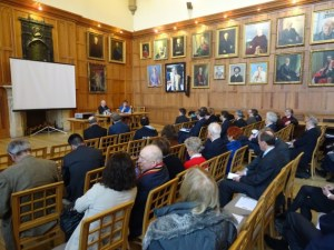 QUB Brexit Arlene Foster Chralie Flanagan side view across Great Hall