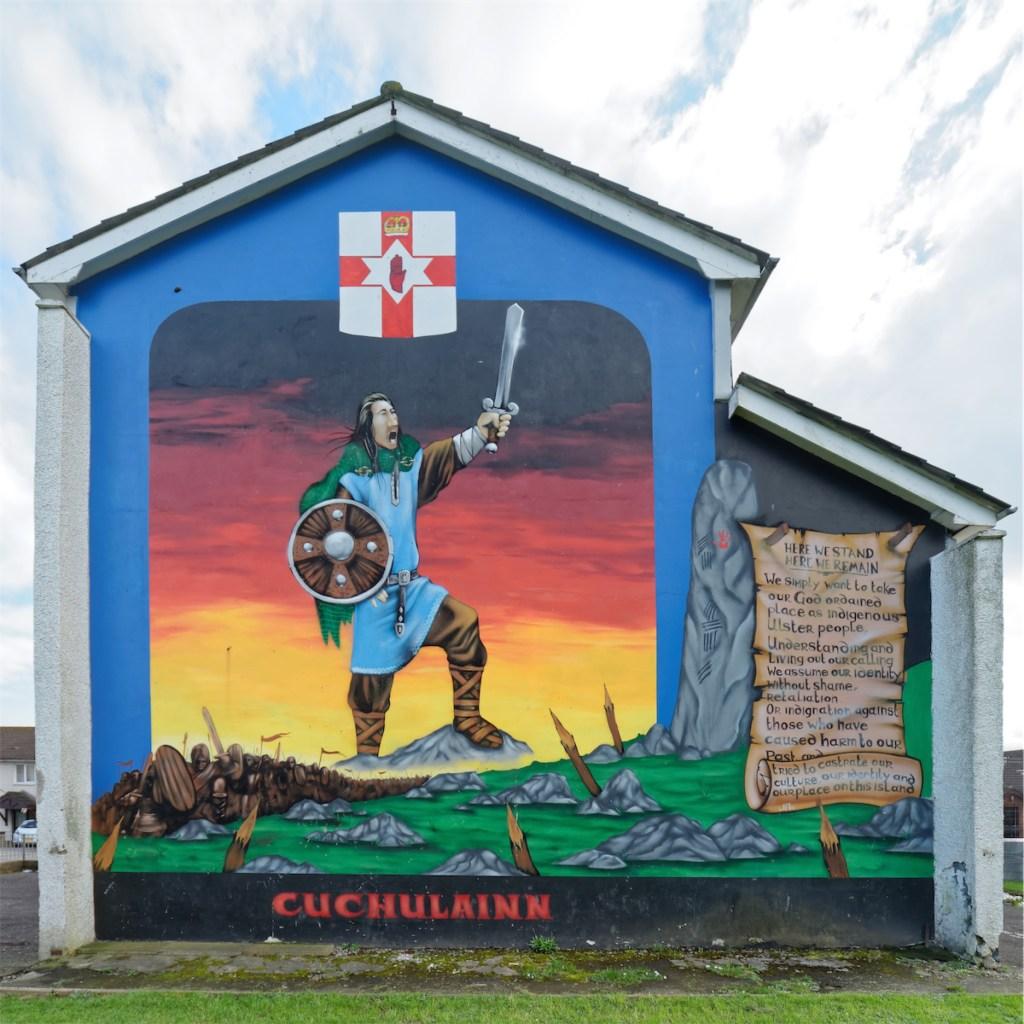 Cúchulainn as a loyalist. Lower Shankill, West Belfast.